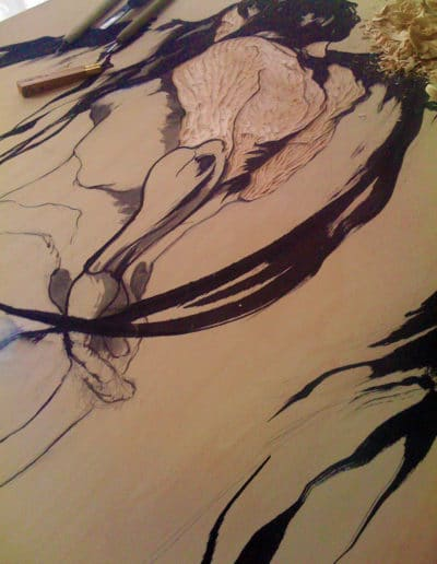 Kimono Wings, sumi ink drawing and carving