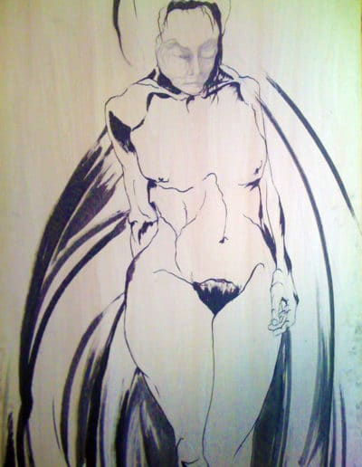 Something to Wear, sumi ink drawing on wood